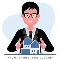 mediatore o agente immobiliare che offre una casa stando dietro un modello di proprietà vettore