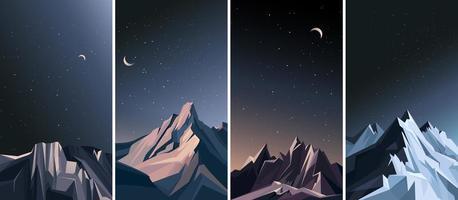 montagne nella notte. vettore