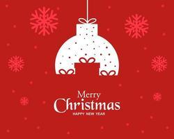 buon natale felice anno nuovo con il vettore di sfondo palla di natale