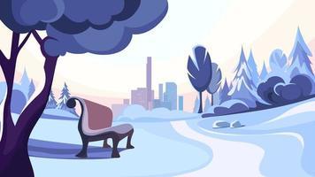winter park sullo sfondo della città. vettore