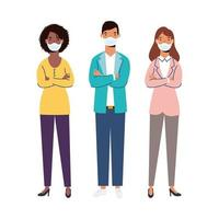 donne e uomini con disegno vettoriale maschere mediche
