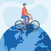 uomo con maschera medica e bici sul disegno vettoriale del mondo