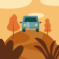 veicolo auto sul disegno vettoriale di montagna