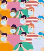 uomini con maschere sfondo disegno vettoriale