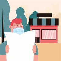 uomo con maschera con giornale e negozio di disegno vettoriale