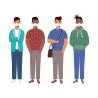 uomini con disegno vettoriale maschere mediche
