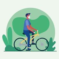 uomo con mascherina medica sul disegno vettoriale di bici