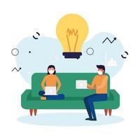 donna e uomo con maschera e laptop sul divano con design della lampadina
