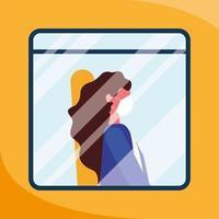 donna con mascherina medica al disegno vettoriale di finestra del bus
