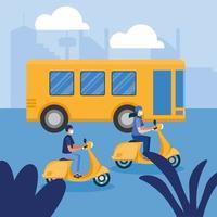 donna e uomo con mascherina medica su disegno vettoriale moto e autobus