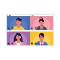avatar di persone sullo schermo nel disegno vettoriale di chat video