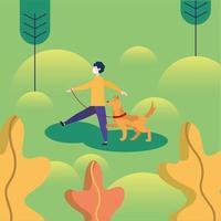uomo con maschera medica e cane al parco disegno vettoriale
