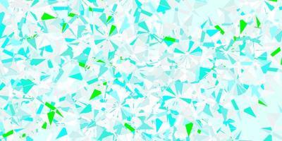 modello vettoriale azzurro, verde con fiocchi di neve colorati.