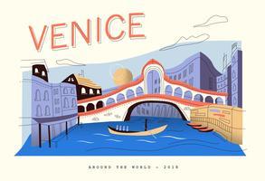 Illustrazione piana di vettore del paesaggio di Venezia della cartolina