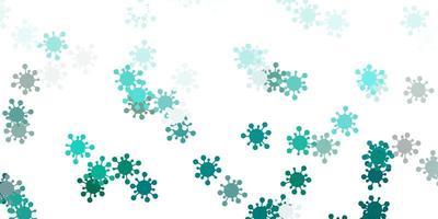sfondo vettoriale azzurro e verde con simboli di virus.