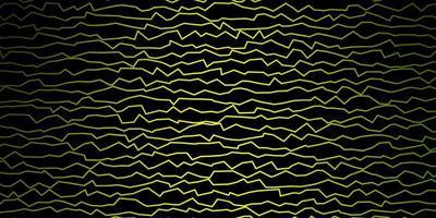 sfondo vettoriale verde scuro con linee curve.