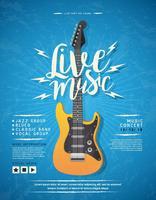 Progettazione del manifesto di concerto con l'illustrazione di vettore della chitarra