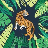 tigre disegnata a mano con foglie tropicali esotiche, illustrazione vettoriale piatta
