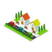 casa isometrica illustrata in vettoriale su sfondo bianco