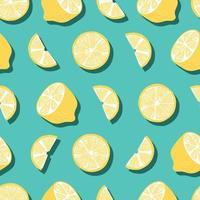 senza cuciture di frutta, limoni con ombra su sfondo verde brillante vettore