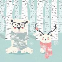 cartolina di buon natale con due orsi bianchi polari nella foresta vettore