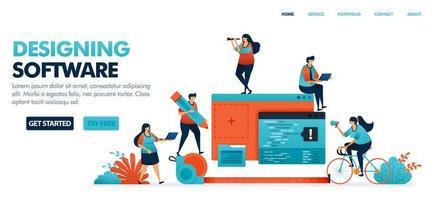progettazione di app mobili e software desktop pianificando, discutendo e valutando i risultati della codifica e della programmazione per le startup. illustrazione vettoriale umana per sito Web, app mobili e poster