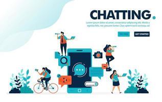 applicazioni di chat illustrazione vettoriale. persone che chattano con l'applicazione mobile. app di chat per la comunicazione, l'invio e la ricezione di messaggi. progettato per landing page, web, banner, template, flyer, poster, ui vettore