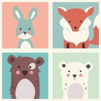 collezione di simpatici animali della foresta e polari