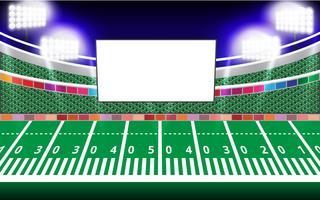 Schermo vuoto di Jumbotron e Floodlights nello stadio vettore