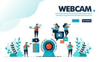illustrazione vettoriale webcam fotocamera. le persone registrano utilizzando una webcam per live streaming o webinar. contenuto video di social media per vlog. progettato per landing page, web, banner, template, flyer, poster