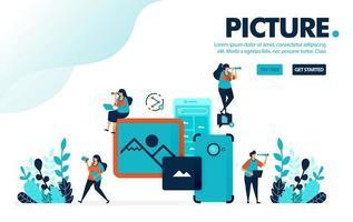illustrazione vettoriale immagine mobile. le persone scattano foto e immagini con la fotocamera del cellulare. condividere le immagini sui social media con il cellulare. progettato per landing page, web, banner, mobile, template, flyer, poster