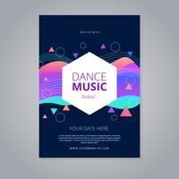 Modello di volantino del festival di musica dance vettore