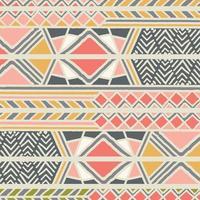 modello bohémien colorato etnico tribale con elementi geometrici, panno di fango africano vettore