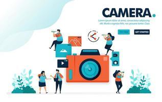 illustrazione vettoriale fotocamera. le persone scattano foto con la fotocamera. condivisione di video e foto sui social media. fotografia per la pubblicazione. progettato per landing page, web, banner, mobile, template, flyer, poster