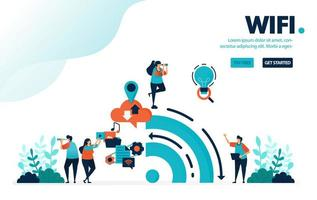 illustrazione vettoriale internet e wifi. le persone usano il wifi per attività e social media. big data dalla cronologia dell'utilizzo di Internet. progettato per landing page, web, banner, mobile, template, flyer, poster