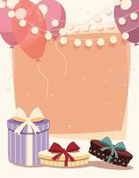 sfondo di compleanno con regali e palloncini vettore