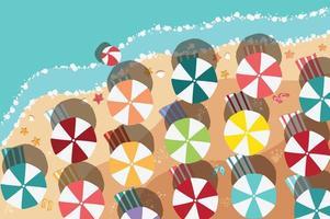spiaggia estiva in design piatto, lato mare e articoli da spiaggia vettore
