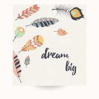 design da cartolina con citazione ispiratrice e piume colorate bohémien