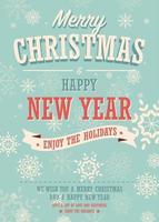 Merry Christmas card su sfondo invernale, poster design vettore