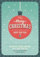 Merry Christmas Card su una palla di Natale decorativa su sfondo invernale vettore