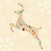 renne di Natale ornamentali con fiocchi di neve