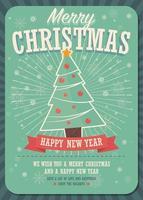 Merry Christmas Card con albero di Natale e confezioni regalo su sfondo invernale vettore