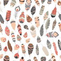 senza cuciture con piume vibranti colorate etniche tribali vintage boho vettore