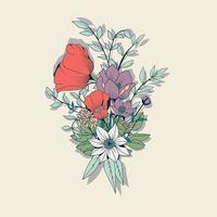 elemento disegnato a mano di bouquet di fiori, decorazione botanica e floreale vettore