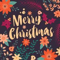 tipografia merry christmas card con elementi decorativi floreali vettore