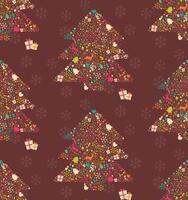 seamless con albero di Natale ornamentale con renne, scatole regalo e fiocchi di neve vettore