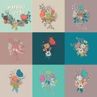 set di elementi disegnati a mano di bouquet di fiori, decorazioni botaniche e floreali vettore