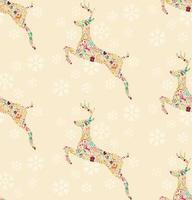 modello senza saldatura con renne di Natale ornamentali con fiocchi di neve vettore
