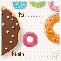 design di carta di compleanno con gustose ciambelle lucide colorate