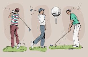 Illustrazione disegnata a mano di vettore del giocatore di golf d'annata
